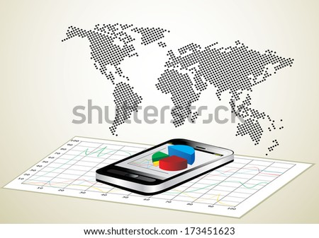 world map and smartphone showing a spreadsheet with some 3d charts over it - stock vector