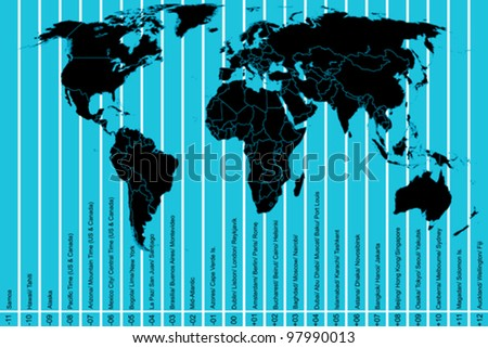 World map and time zones - stock vector