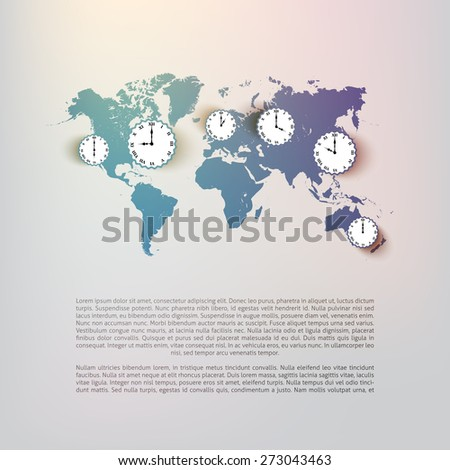 World map background with clocks - illustration  - stock vector