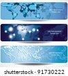 world map banner - stock vector