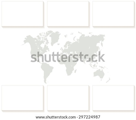 World map blank card in vector set - stock vector