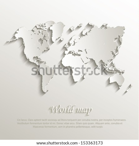 World map.  card. paper. 3D. natural. continents. vector. Europe map. Asia map. Africa map. America map. Australia map. Oceania map. Map icon. Map vector. Continent map. Map. world.  - stock vector