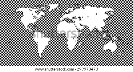 World Map Checkered Black 1 Big Squares - stock vector