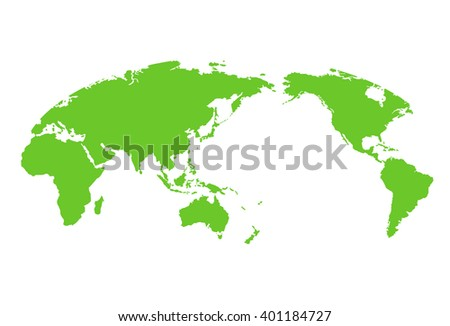 World map color green, vector illustration - stock vector