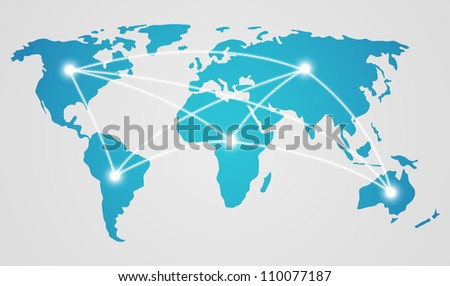 World map - concept of global communication - stock vector