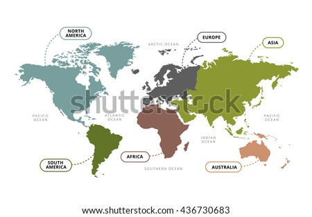 World Map Continents / Vector of World Map with Continents Section Name - stock vector