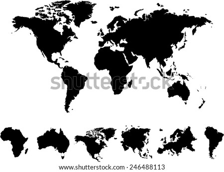 World Map 6 continents Vector on white background  - stock vector