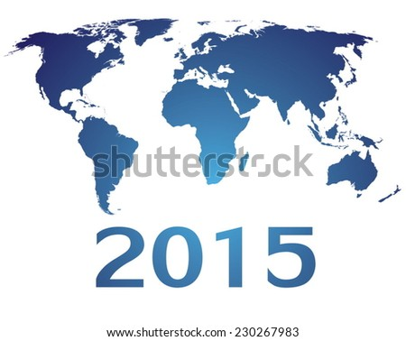 World map countries blue gradient 2015 - stock vector