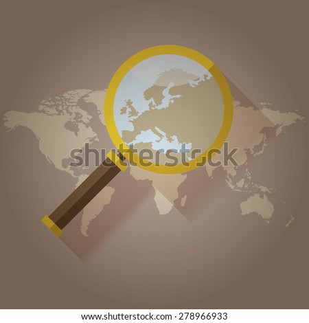 World map countries with Europe magnifying glass - stock vector