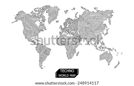 world map design circuit board - stock vector