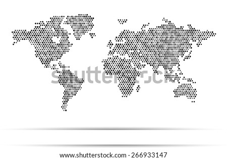World map dots random size black - stock vector