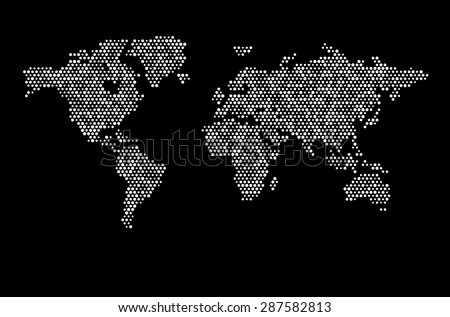 World map dots random size white - stock vector