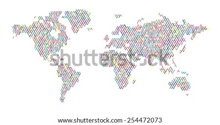 World map - fence pattern line design random color hand drawn EPS 10 - stock vector
