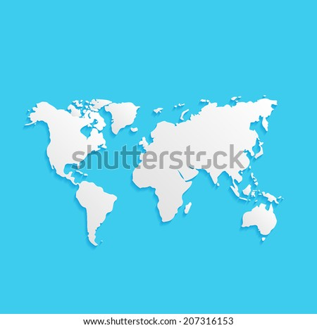 world map, flat icon isolated on a blue background for your design, vector illustration - stock vector