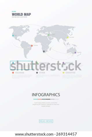 World map. Flat web design & website infographics business vector elements. Use for data visualization in website, brochure, flyer, magazine etc. - stock vector