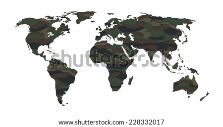 World map - Forest / green camouflage pattern, vector illustration - stock vector