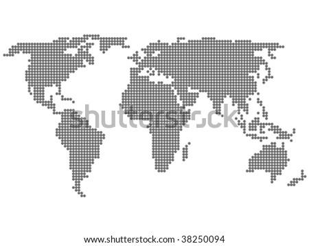 World map formed by dots. Vector illustration. - stock vector