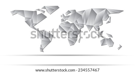 World Map frozen triangles of continents gray color - stock vector