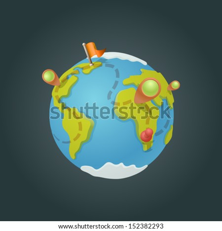 World map globe cartoon fun vector. Funny game style. Navigation icons creative design concept. - stock vector