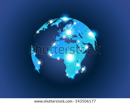 world map globe connection with spot lights effect - stock vector