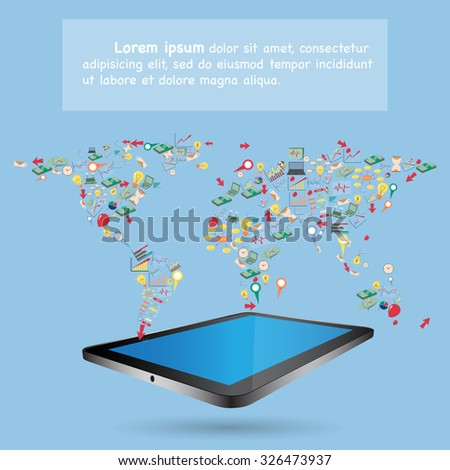 World Map Globe Design by Creative cartoon business, technology and strategy planning icons Idea on tablet computer, Vector Illustration EPS 10. - stock vector