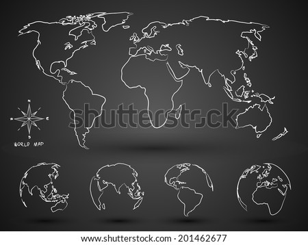 World Map Globe hand drawn Vector Illustration - stock vector