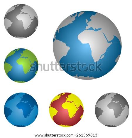 World map globe icon set. Vector illustration. - stock vector