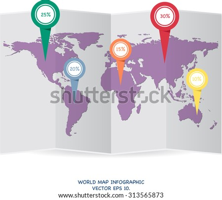 World map globe info graphic for communication concept, Vector Illustration EPS 10. - stock vector