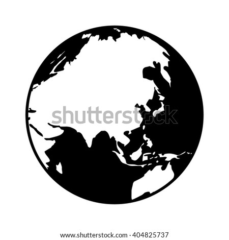 World map globe or planet earth showing Asia flat icon for apps and websites - stock vector