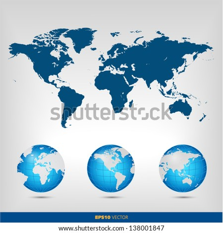 World map globe set - stock vector
