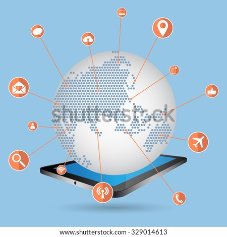 World Map Globe with Web icons, Business icons and Technology icons for technology and business concept on tablet computer, Vector Illustration EPS 10. - stock vector