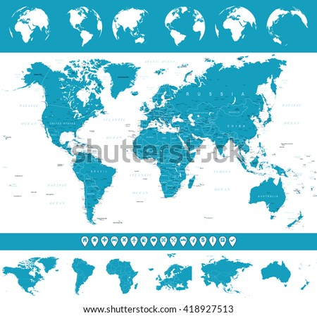 World Map, Globes and Navigation Icons - illustration Vector illustration of World map and navigation icons - stock vector