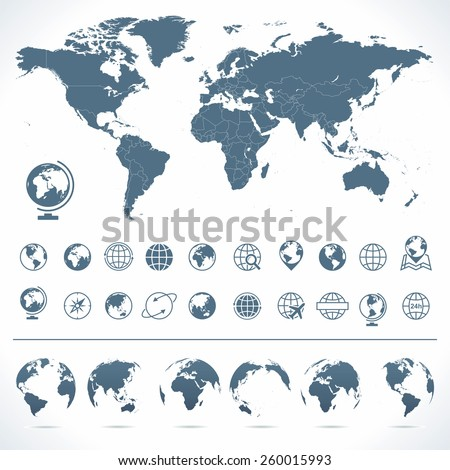 World Map, Globes Icons and Symbols - Illustration Vector set of world map and globes.  - stock vector