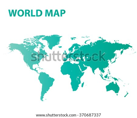 World map green on vector background. - stock vector
