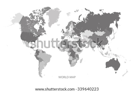 WORLD MAP GREY SCALE illustration vector - stock vector