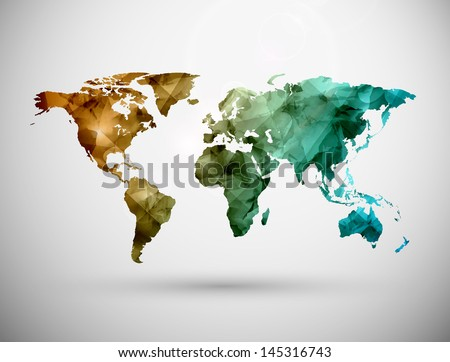 World map, grunge. Eps 10 - stock vector