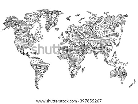world map hand drawn flower floral design vector - stock vector