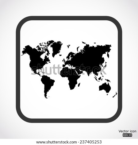 World map icon - black vector illustration - stock vector