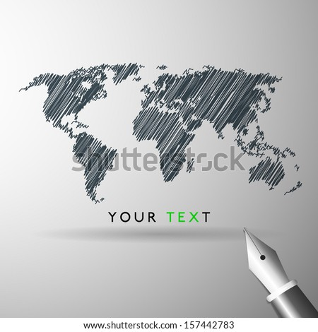World map icon sketch in vector format - stock vector