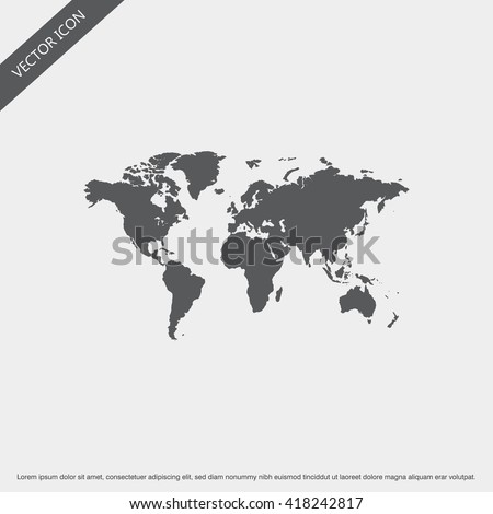 World Map Icon Vector.World Map Icon Sign.World Map Icon Design.World Map Icon Object.World Map Icon Image. - stock vector