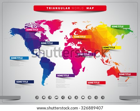 World map illustration and infographics, triangular vector design template - stock vector