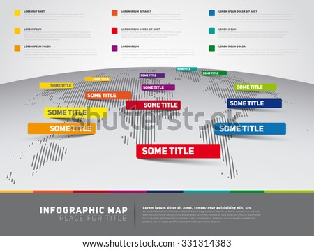 World map illustration and infographics, vertical lines atlas, vector design template - stock vector