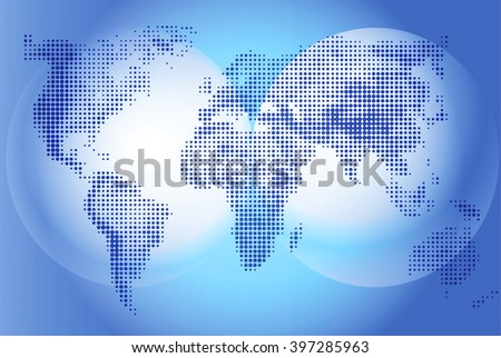 World map Illustration on blue background, geography. Continents and world ocean. Globe world vector detailed maps. Vector graphics for design projects and presentations, informative scoreboard.  - stock vector