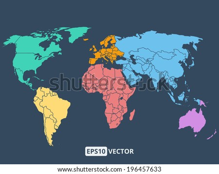 World map illustration, stock vector - stock vector