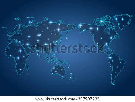 world map illustration with glowing points and lines - stock vector