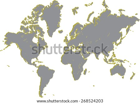 World map in a 3D abstract grey background, a three dimensional world map in a grey color for webpage template or construction - stock vector
