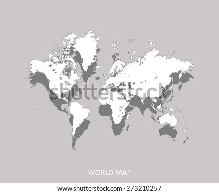 World map in an abstract 3D background, a conceptual three dimensional design of world map with shadow on a faded light color background for web-page template or construction - stock vector