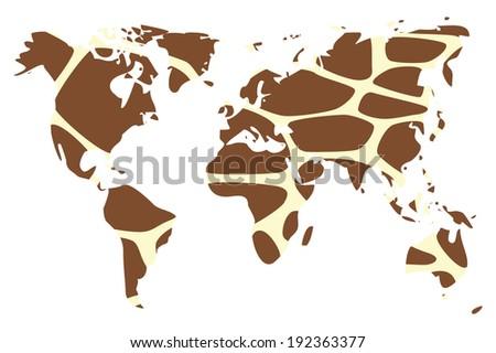 World map in animal print design, giraffe pattern, vector illustration - stock vector