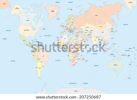 world map in english language - stock vector