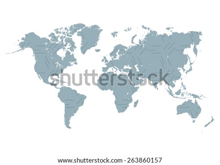 world map in flat style Vector illustration - stock vector